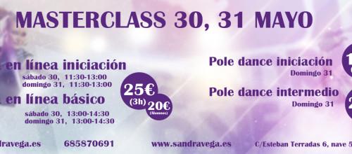 30 Y 31 DE MAYO MASTERCLASS DE SALSA EN LÍNEA Y POLE DANCE